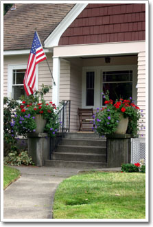 house porch with flag